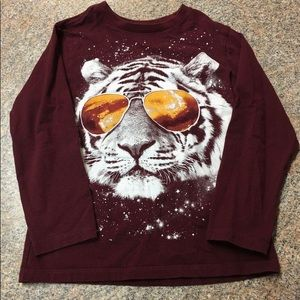 Children's Place maroon tiger in glasses T
